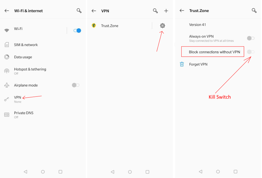 How to enable Kill Switch for Trust.Zone VPN Android App?