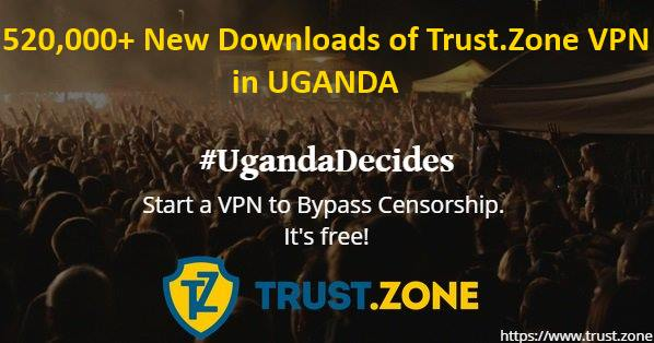 #UgandaDecides: 520,000+ New Downloads of Trust.Zone VPN from Uganda and Still Grows